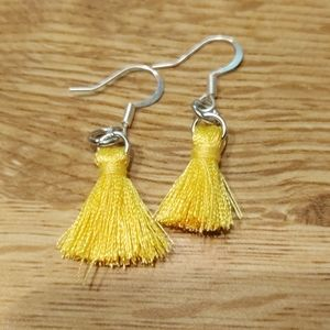 Yellow mini tassel earrings